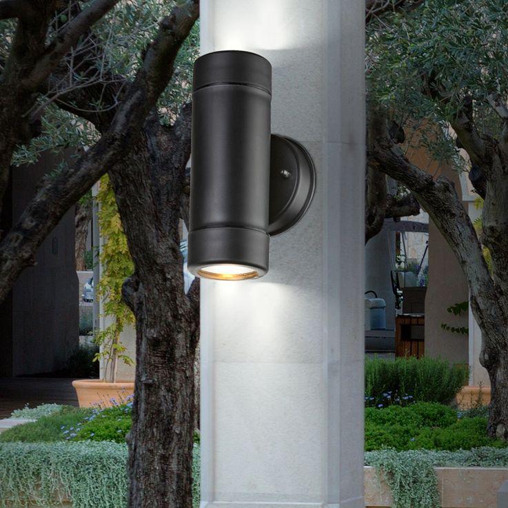 UP Down Außen Wand Lampe Fassaden Garten Terasse Beleuchtung Leuchte IP44 Schwarz Globo 32005-2 – Bild 2