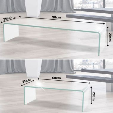 Hagen glass table hi-fi tower home cinema furniture design max. 30kg black white transparent BHP – Bild 4