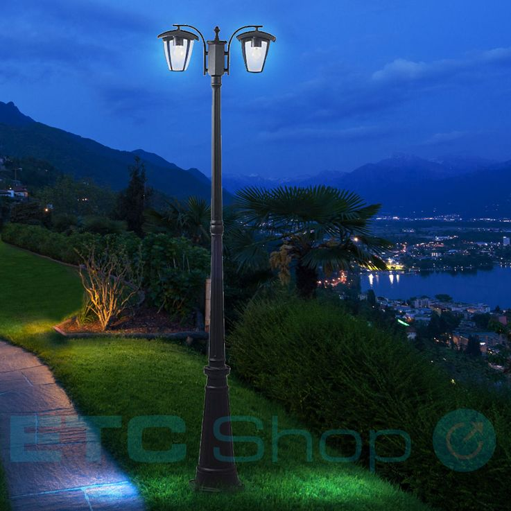 Outdoor standing lamp black ALU standing lighting garden lantern terraces candelaber glass V-TAC 7062 – Bild 2