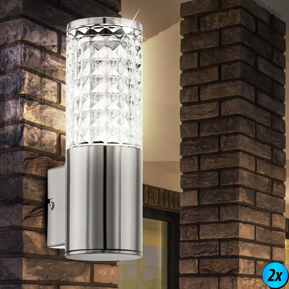 wand led spot au en garten hof lampe edelstahl beleuchtung ip44 1x 2x 4x 6x 10x ebay. Black Bedroom Furniture Sets. Home Design Ideas