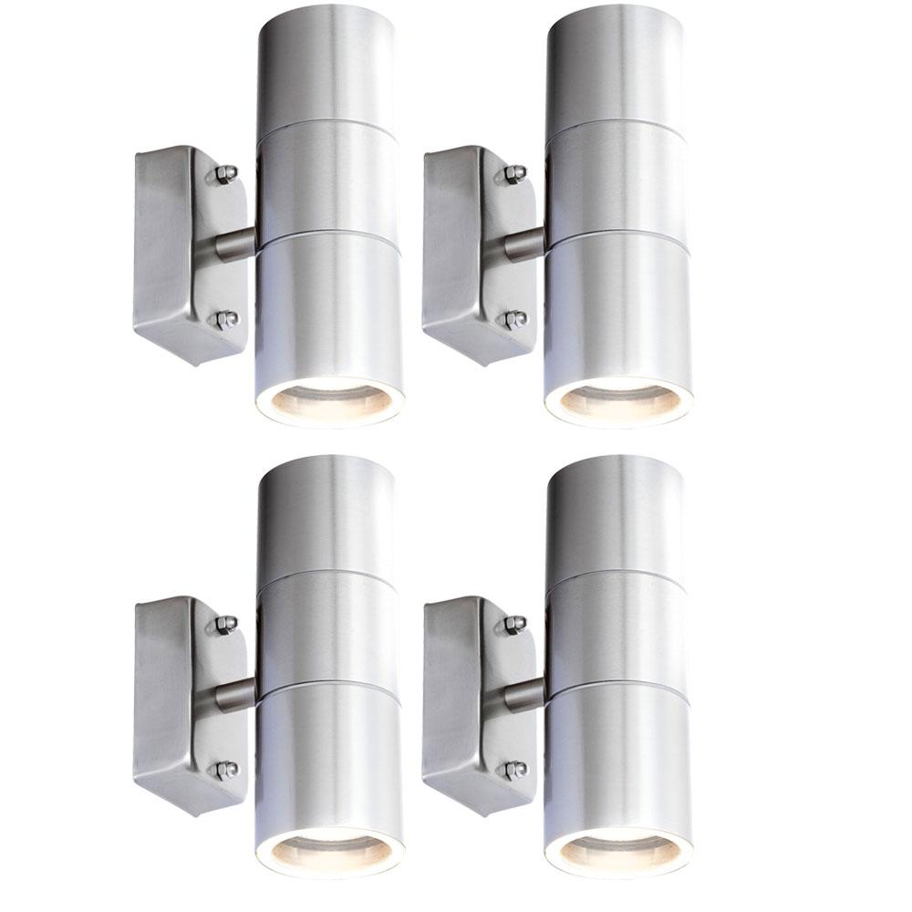 4er set led wandleuchten aus edelstahl f r ihre au enbereich unsichtbar lampen m bel. Black Bedroom Furniture Sets. Home Design Ideas