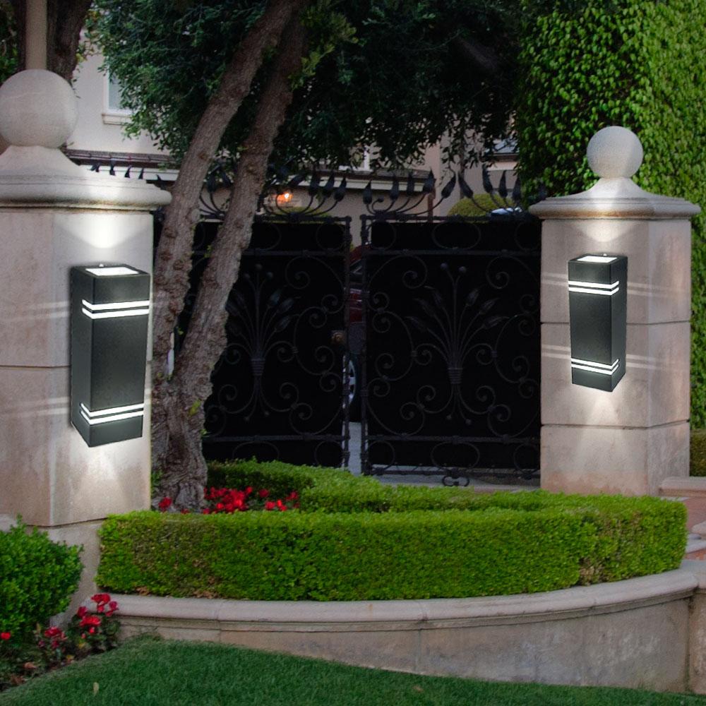 2er set led wandleuchten aus edelstahl f r ihren garten unsichtbar lampen m bel au enleuchten. Black Bedroom Furniture Sets. Home Design Ideas