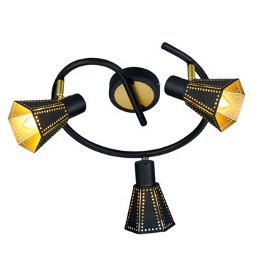 deckenlampe in schwarz gold mit beweglichen spots houston. Black Bedroom Furniture Sets. Home Design Ideas