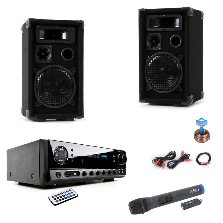 Party Karaoke Anlage Bluetooth USB MP3 Verstärker Funk Mikrofon System DJ-Black Star – Bild 1