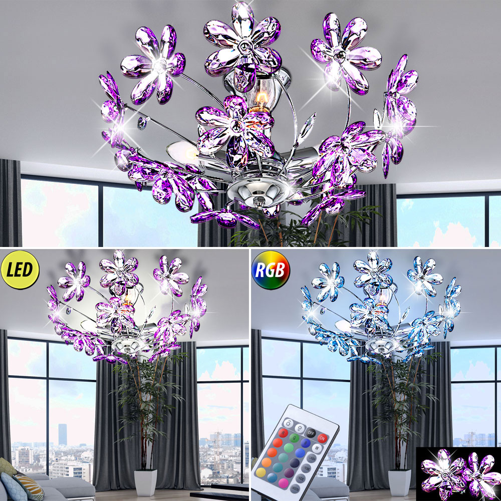 luxus rgb led decken blumen leuchte ess zimmer lampe chrom beleuchtung dimmbar ebay. Black Bedroom Furniture Sets. Home Design Ideas