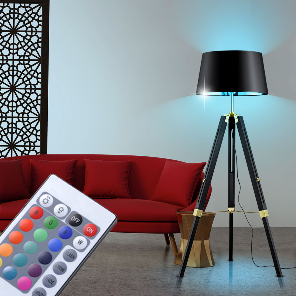 led steh lampe dimmbar rgb fernbedienung 3 bein naturholz schwarz gold textil ebay. Black Bedroom Furniture Sets. Home Design Ideas