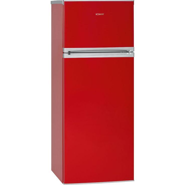 Doppeltür Kühlschrank Kühlfach LED-Licht Abtauautomatik 212 Liter A++ Bomann DT 349 rot – Bild 2