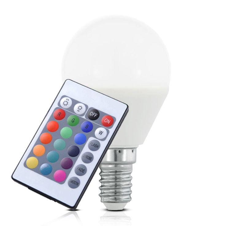 RGB LED E14 4 Watt Illuminant dimmable Color change 300 lumens REMOTE CONTROL Reality Luminaires R951-69 – Bild 1