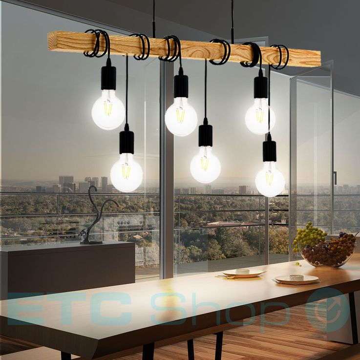 Design Ceiling Hanging Lamp Dining Room Lighting Wood Pendant Light 6-flame Eglo95499 – Bild 3