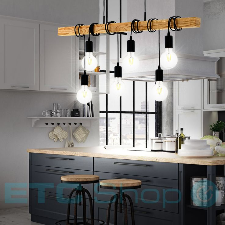 Design Ceiling Hanging Lamp Dining Room Lighting Wood Pendant Light 6-flame Eglo95499 – Bild 2