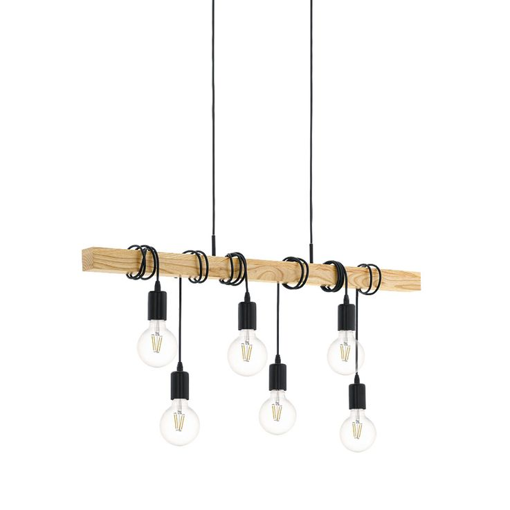 Design Ceiling Hanging Lamp Dining Room Lighting Wood Pendant Light 6-flame Eglo95499 – Bild 1