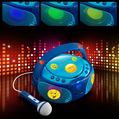 Kinder Musik Anlage blau Lichteffekt USB MP3 CD Player tragbar Karaoke Mikrofon inkl. Smiley Sticker – Bild 2