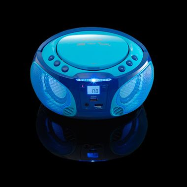 Kinder Musik Anlage blau Lichteffekt USB MP3 CD Player tragbar Karaoke Mikrofon inkl. Smiley Sticker – Bild 4