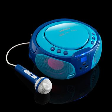 Kinder Musik Anlage blau Lichteffekt USB MP3 CD Player tragbar Karaoke Mikrofon inkl. Smiley Sticker – Bild 5