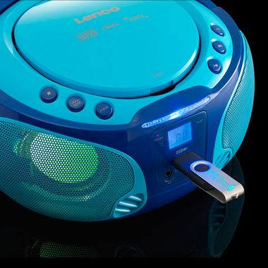 Kinder Musik Anlage blau Lichteffekt USB MP3 CD Player tragbar Karaoke Mikrofon inkl. Smiley Sticker – Bild 3