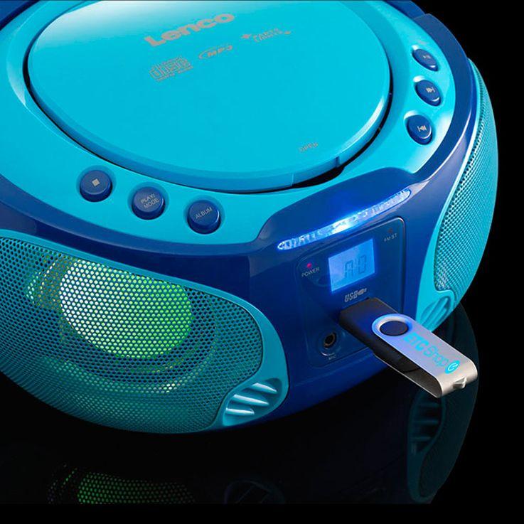 Système de musique pour enfants bleu effet d'éclairage USB MP3 CD lecteur portatif microphone karaoké avec autocollants – Bild 3