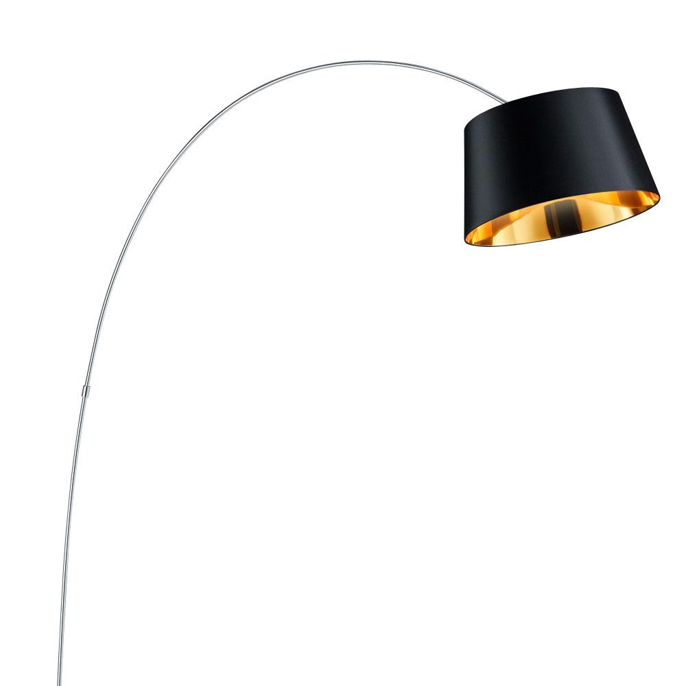 rgb led bogen steh lampe textil schirm schwarz gold. Black Bedroom Furniture Sets. Home Design Ideas