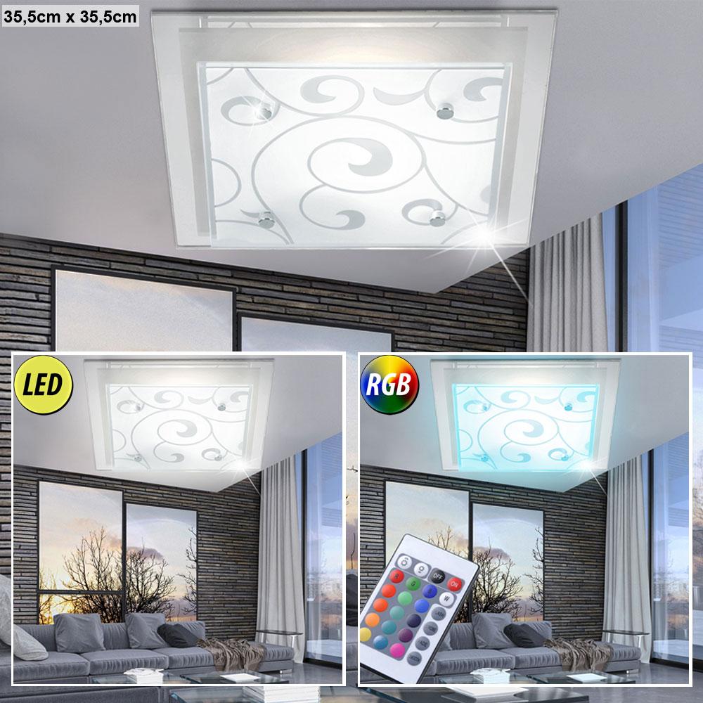 Rgb led deckenleuchten mit satiniertem lampenschirm aus glas for Led lampenschirm