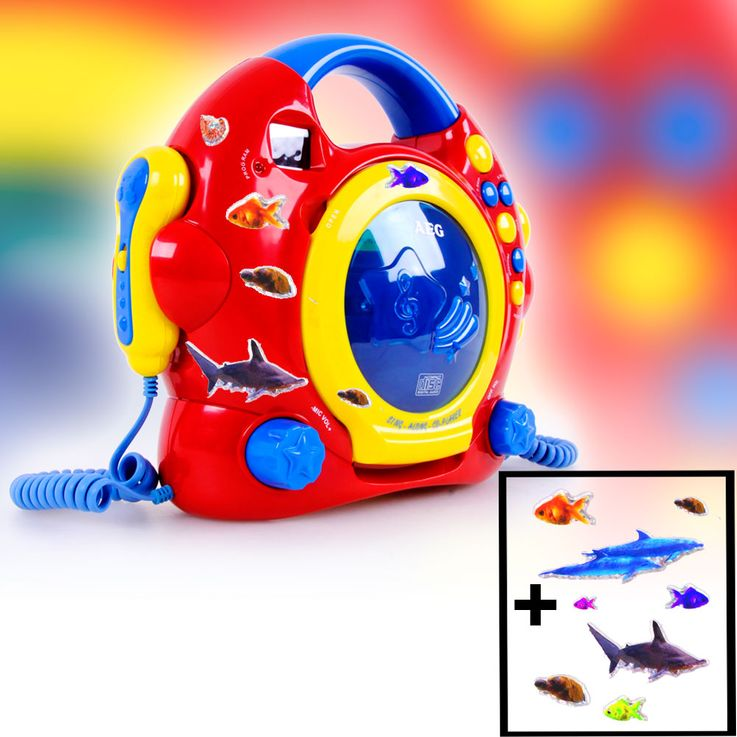 Kids Karaoke CD Player Girls Boys Sing a Long Plant Headphone Alarm Clock Animal animal Sticker colorful – Bild 5