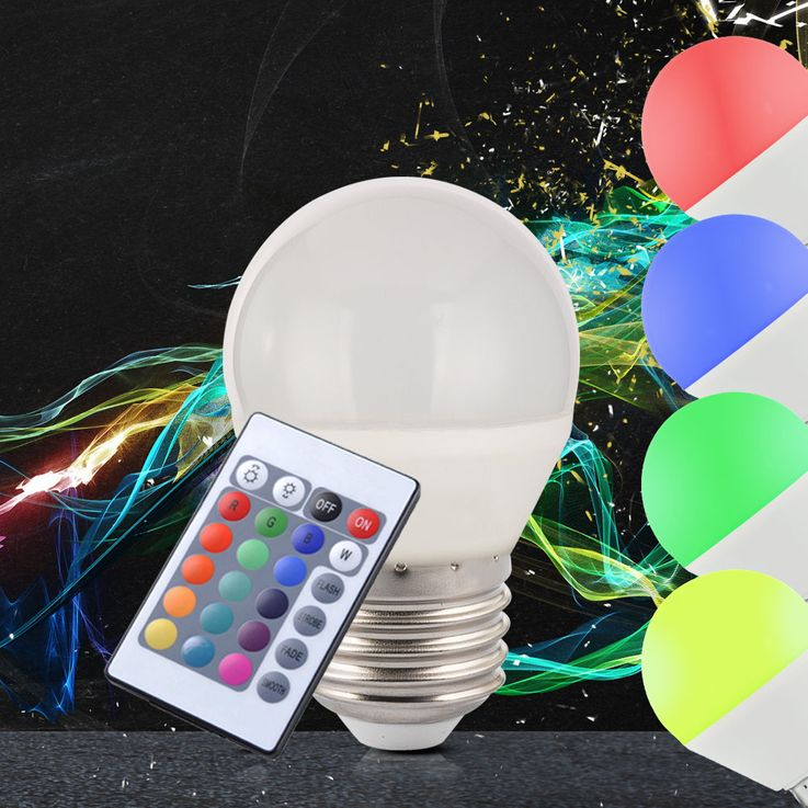 RGB LED remote control E27 bulbs dimmable 5 watt color change incandescent lamp EEK A – Bild 2