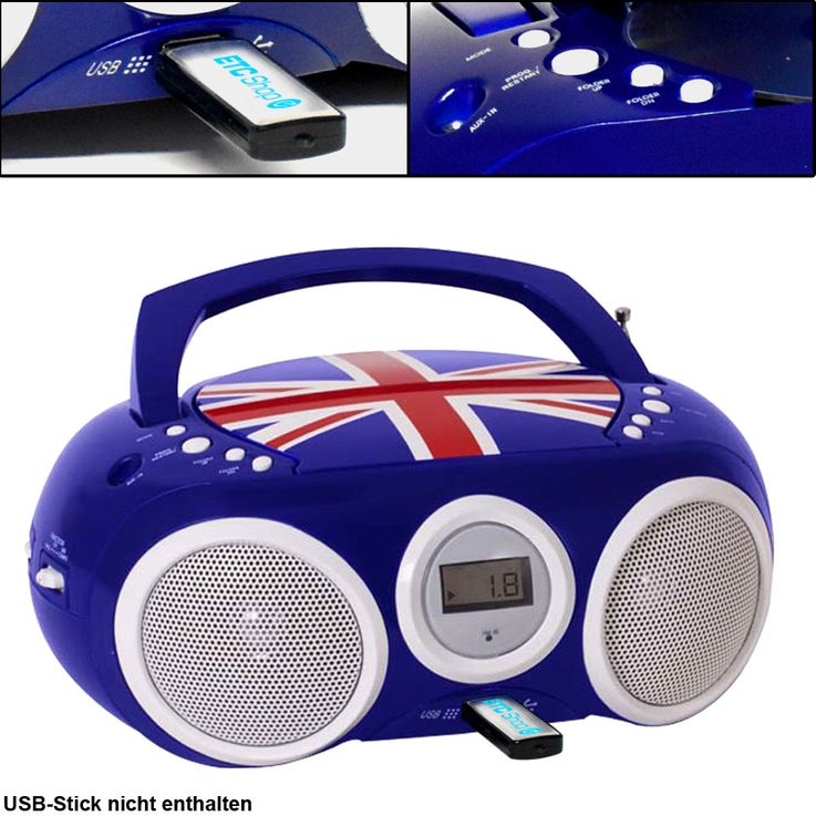 Design CD Spieler Stereo Radio USB Anlage Jungen Kinder Zimmer Musik Big Ben CD32 Union Jack BLAU – Bild 1
