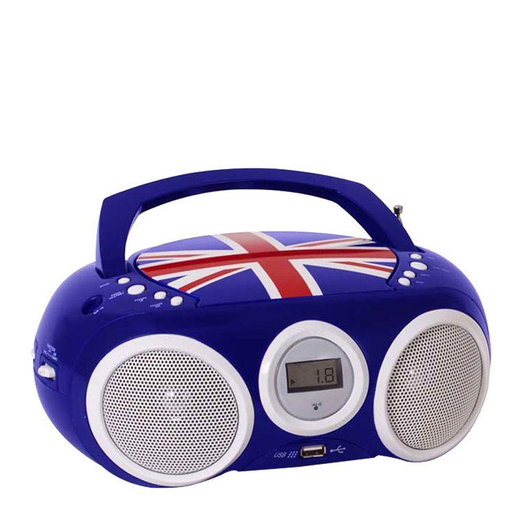 Design CD Player Stereo Radio USB System Boy Child Room Music Big Ben CD32 Union Jack BLUE – Bild 3