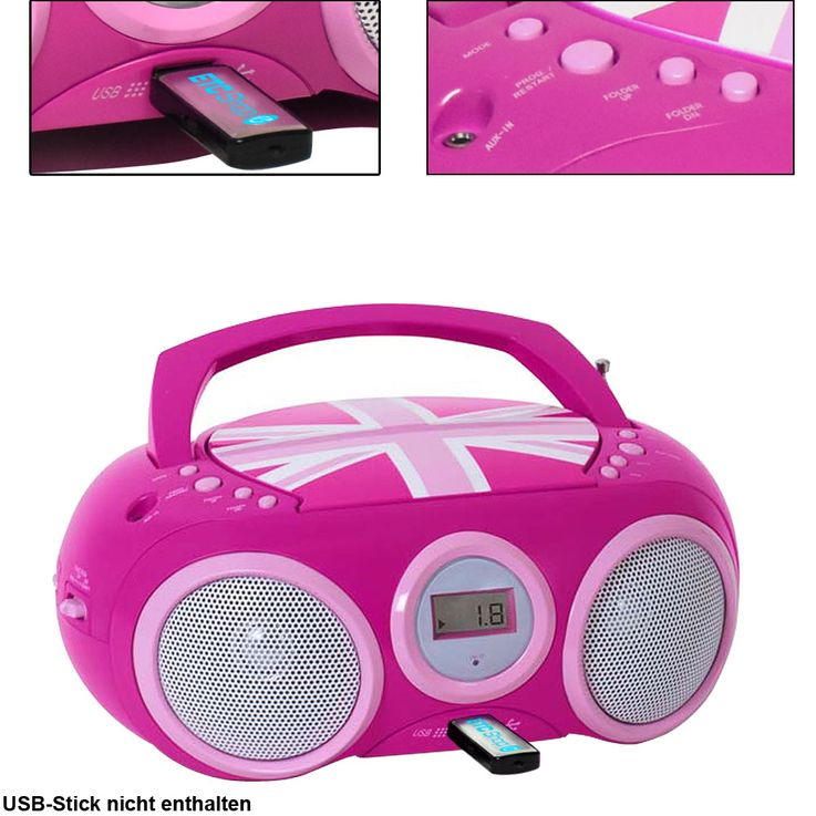 Design CD Player Stereo Radio USB System Girls Kids Room Music Big Ben CD32 Union Jack PINK – Bild 1