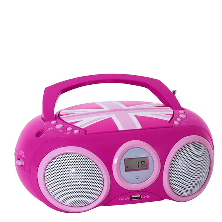 Design CD Player Stereo Radio USB System Girls Kids Room Music Big Ben CD32 Union Jack PINK – Bild 3