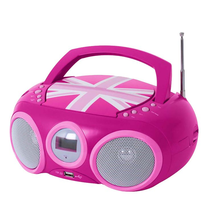 Design CD Player Stereo Radio USB System Girls Kids Room Music Big Ben CD32 Union Jack PINK – Bild 5