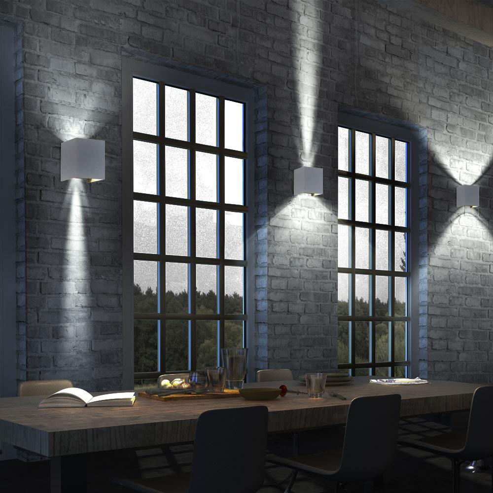 au en led up down wand hof spot lampe alu effekt leuchte garten beweglich grau ebay. Black Bedroom Furniture Sets. Home Design Ideas