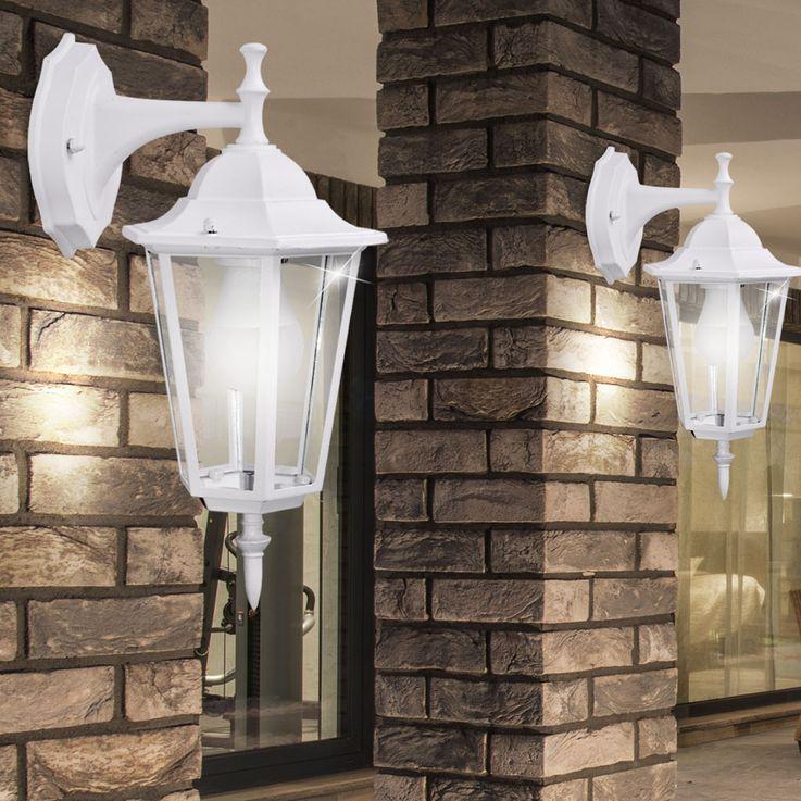 Applique luminaire mural éclairage extérieur lanterne terrasse aluminium blanc verre IP44 – Bild 5