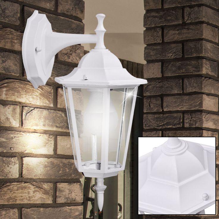 Applique luminaire mural éclairage extérieur lanterne terrasse aluminium blanc verre IP44 – Bild 3