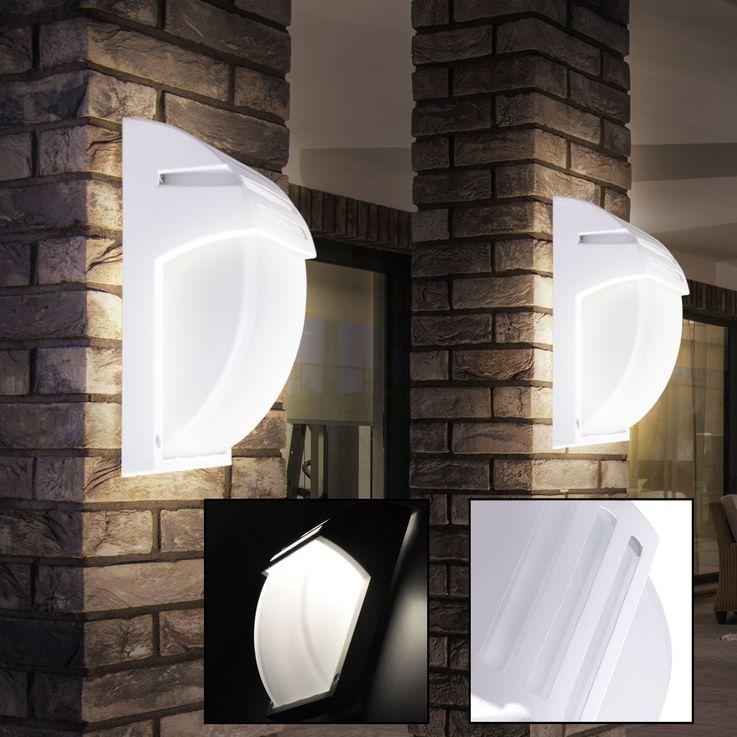 Design Außen Bereich Wand Lampe ALU Glas Terrassen Balkon Leuchte weiß IP44 V-TAC 7077 – Bild 3