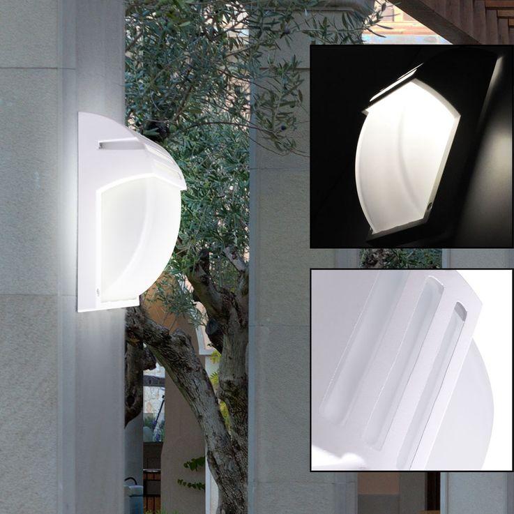 Design Außen Bereich Wand Lampe ALU Glas Terrassen Balkon Leuchte weiß IP44 V-TAC 7077 – Bild 5