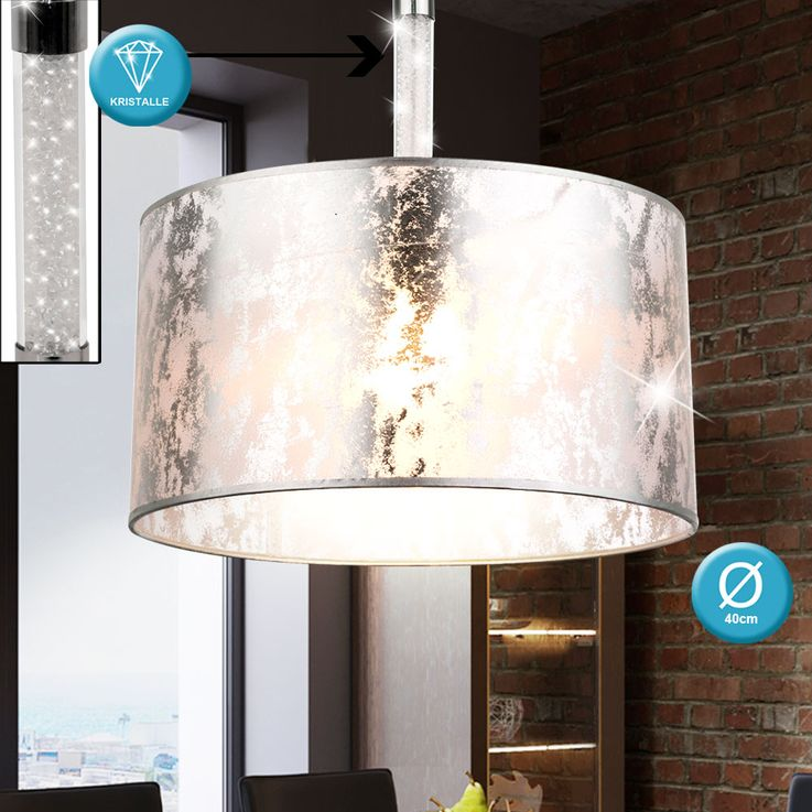 Design pendant light textile silver metallic crystals clear suspended ceiling lighting Globo 151880H – Bild 3