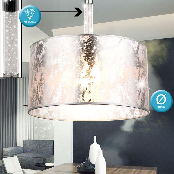 Design Pendel Leuchte Textil silber metallic Kristalle klar Hänge Decken Beleuchtung Globo 151880H – Bild 2