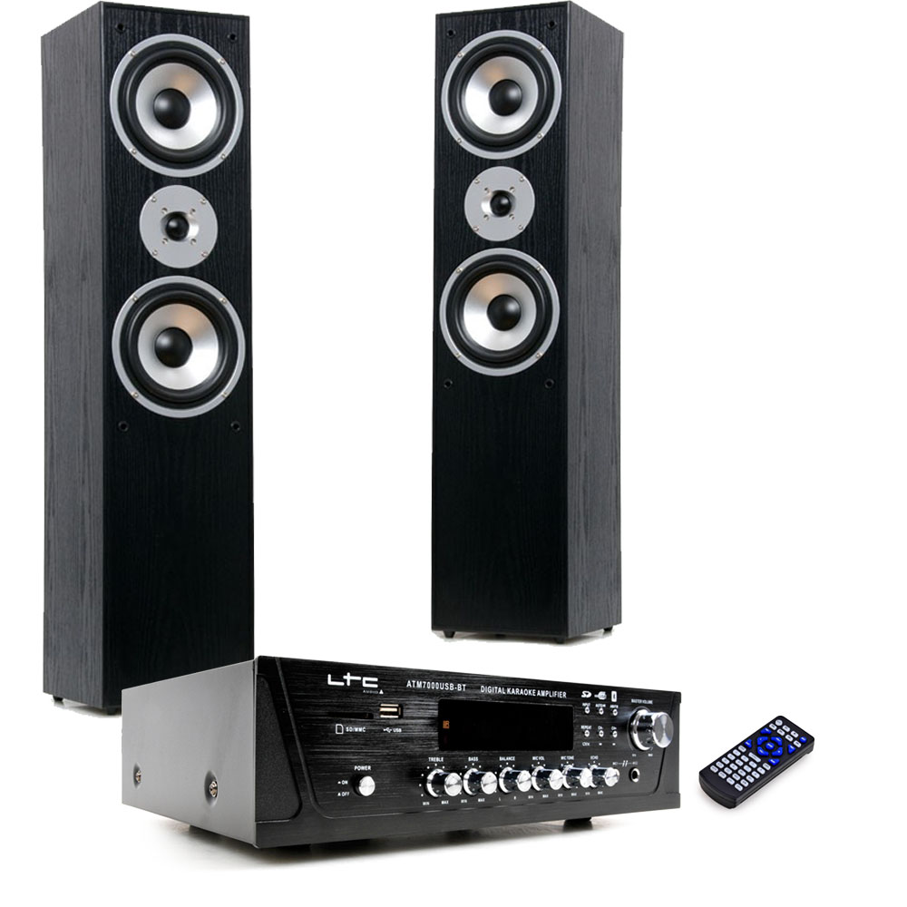 hifi heimkino musik anlage bluetooth usb sd mp3 verst rker schwarze stand boxen ebay. Black Bedroom Furniture Sets. Home Design Ideas