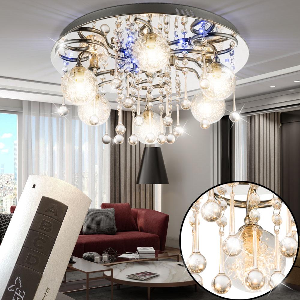 led chrom deckenlampe mit k5 kristallen und glaskugeln pacaya lampen m bel innenleuchten. Black Bedroom Furniture Sets. Home Design Ideas