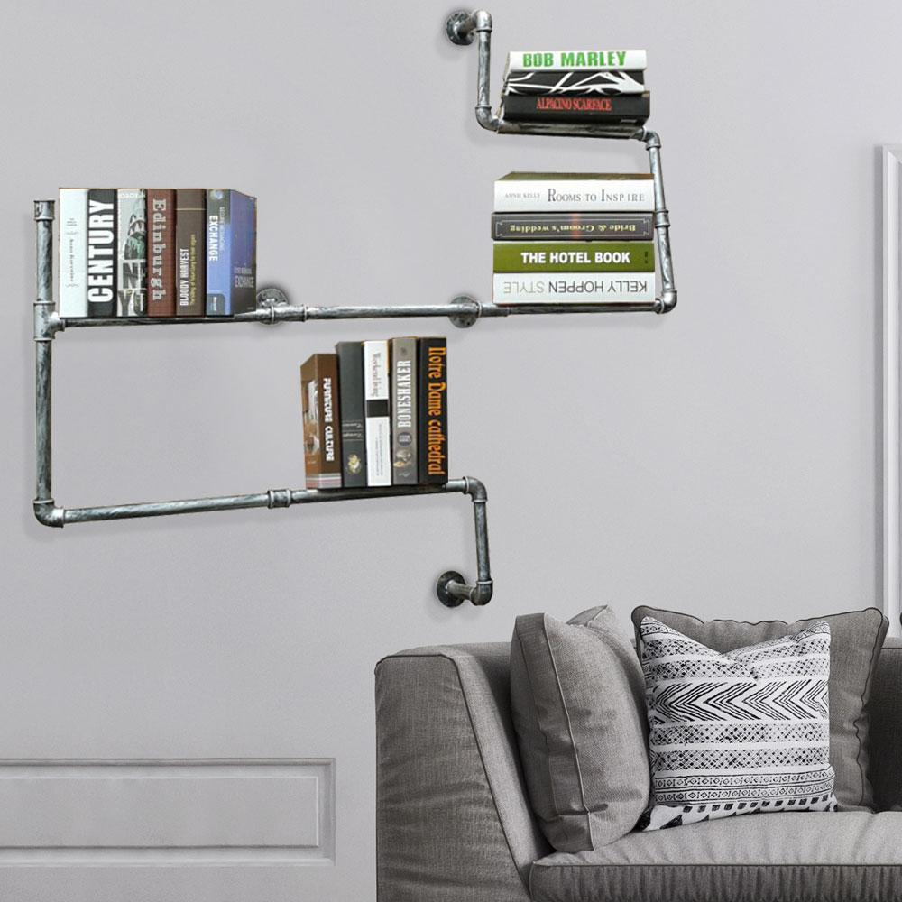 retro stil wand regal metall rohr b cher ablage industrie look beton optik mdf ebay. Black Bedroom Furniture Sets. Home Design Ideas