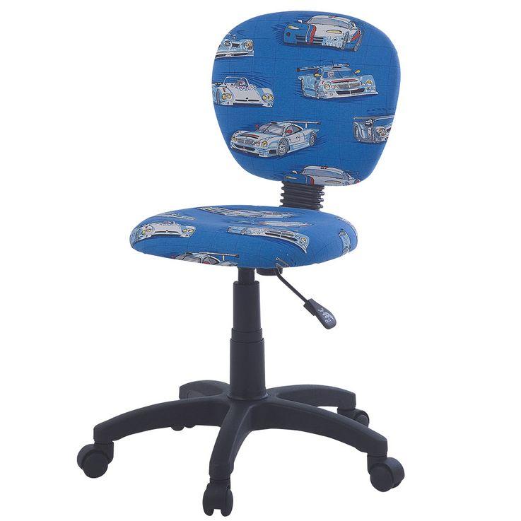 Kinder Zimmer Dreh Stuhl Rollen Stoff blau Renn Autos Fahrzeuge Jungen Sitz Polster Harms 307048 – Bild 1