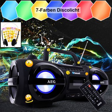 Bluetooth CD Player Radio Boombox Party Licht Smiley Sticker Fernbedienung Ghettoblaster Kopfhörer – Bild 6