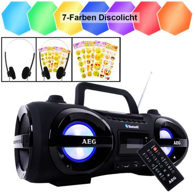 Bluetooth CD Player Radio Boombox Party Licht Smiley Sticker Fernbedienung Ghettoblaster Kopfhörer – Bild 1