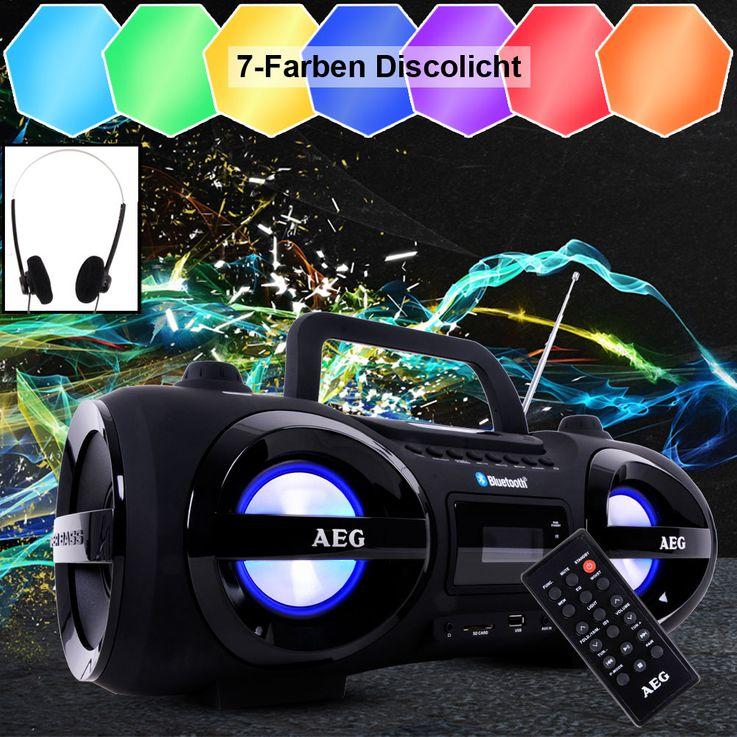 Bluetooth CD Player Radio Boombox Party Licht Smiley Sticker Fernbedienung Ghettoblaster Kopfhörer – Bild 4