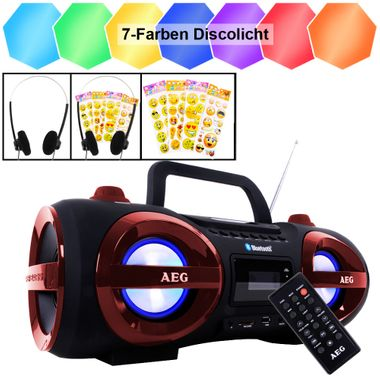 CD Radio Disco Licht Bluetooth Ghetto Blaster Smiley Sticker USB MP3 Musik Anlage Kopfhörer Boombox – Bild 1