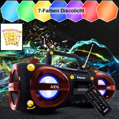 CD Radio Disco Licht Bluetooth Ghetto Blaster Smiley Sticker USB MP3 Musik Anlage Kopfhörer Boombox – Bild 4