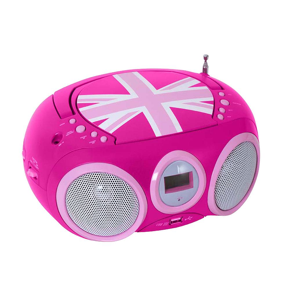 lecteur cd fille avec port usb et radio avec autocollant audio technique audio hifi radios. Black Bedroom Furniture Sets. Home Design Ideas