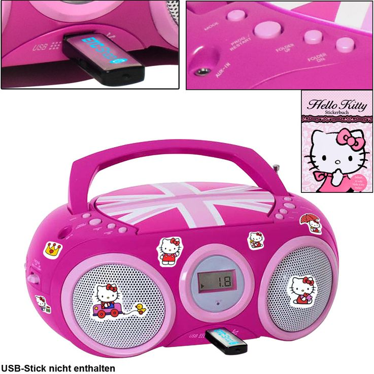 CD Player Stereo Radio USB System Girls Children's room in set inclsive Hello Kitty stickers – Bild 1