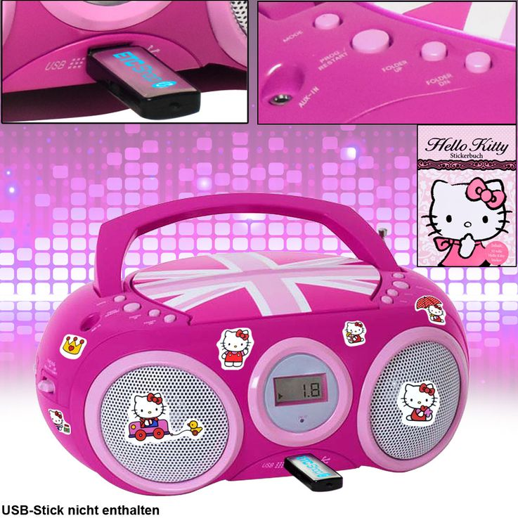 CD Player Stereo Radio USB System Girls Children's room in set inclsive Hello Kitty stickers – Bild 2