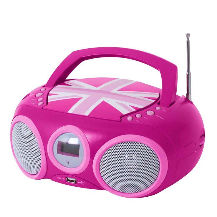 CD Spieler Stereo Radio USB Anlage Mädchen Kinder Zimmer im Set inklusive Hello Kitty Aufkleber – Bild 4