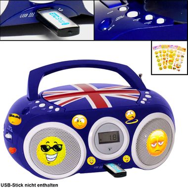 Design CD Player Stereo Radio USB System Boys Childrens' room Music in set including Smiley stickers – Bild 1
